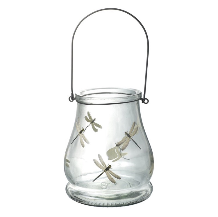 GLASS JAR WTH DRAGONFLY DESIGN